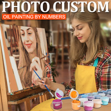 Photo Customized DIY Own Oil Painting By Numbers Picture Drawing on Canvas Handmade Portrait Wedding Family Children Photo Gift