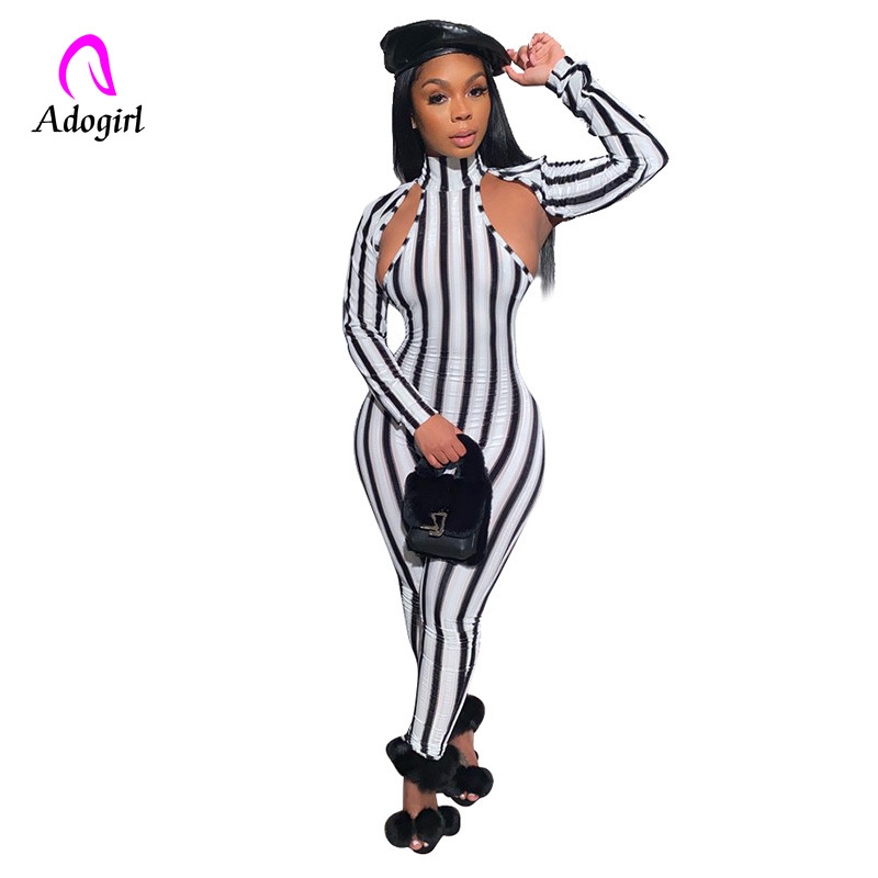 Sexy Striped Turtleneck Bodycon Jumpsuit Women Hollow Out Long Sleeve Pencil Pants Women Jumpsuit Casaul Night Club Overalls