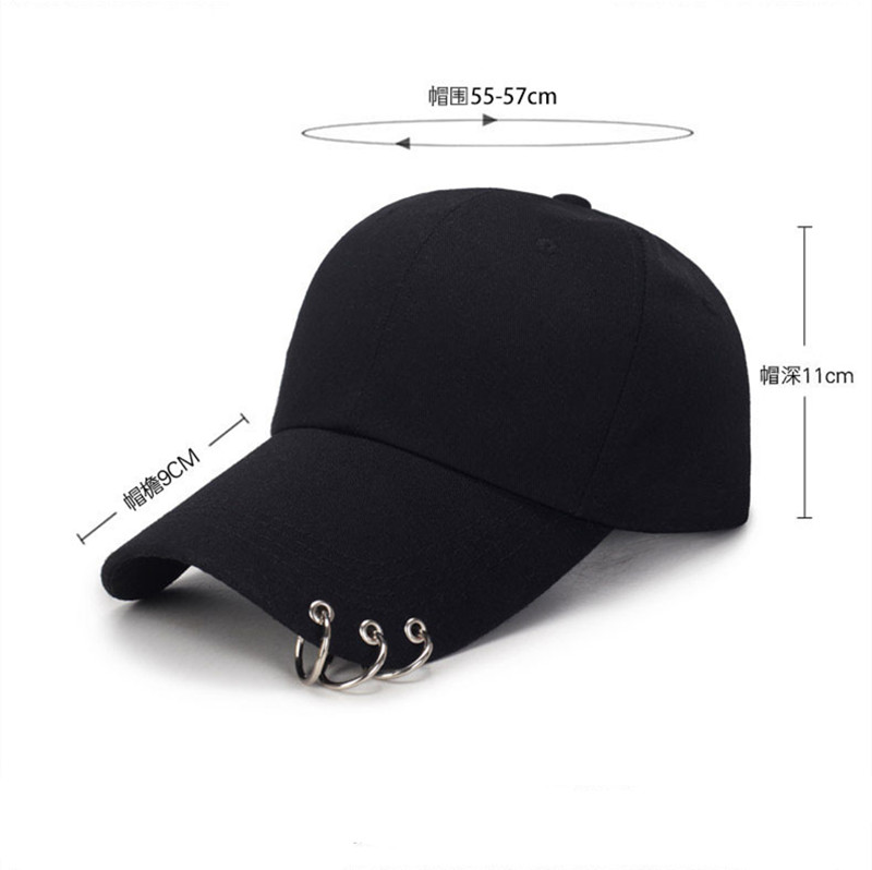 1PCS High Quality Adjustable Baseball Hat With Ring Outdoor Sports Sun Cap For Women Men Fashion Snapback Hats