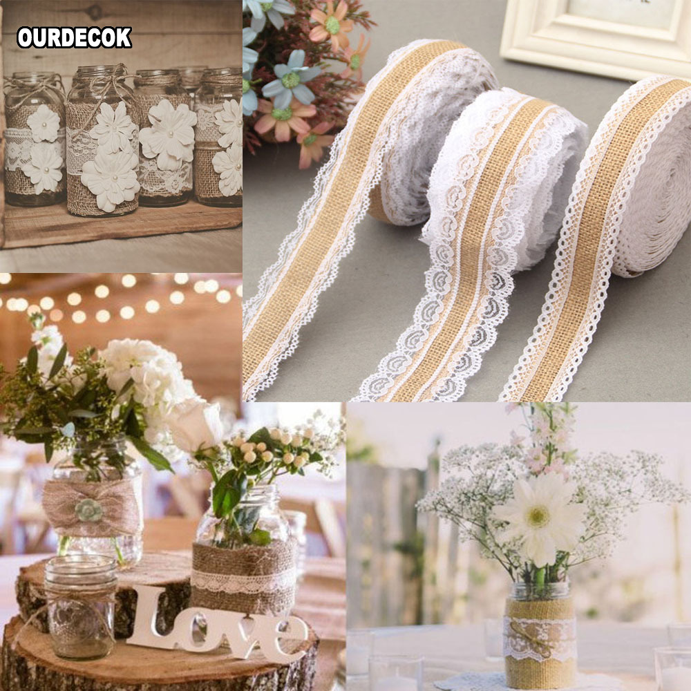 Natural Hessian Bridal Wedding Vintage Bow Jute Ribbon with White Lace Edge