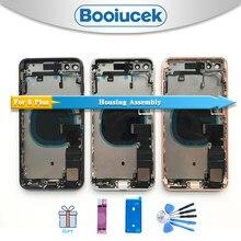 Alta qualidade para o iphone 8 plus 8g i8 x voltar habitação completa montagem da bateria capa porta traseira chassi quadro médio com cabo flexível