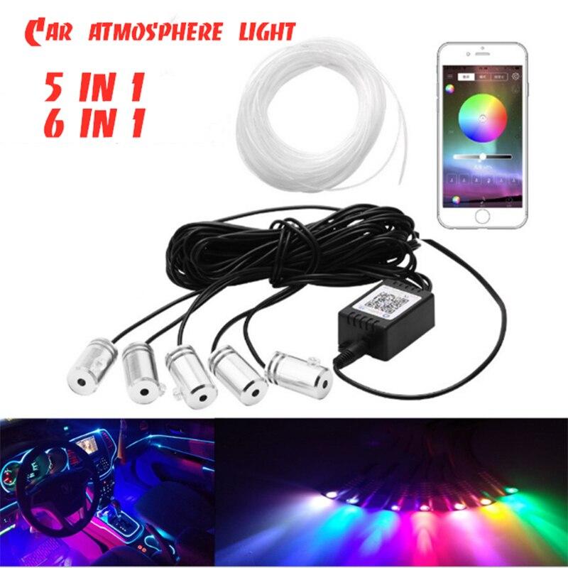 5 в 1, 6 в 1, Автомобильный декоративный светильник, APP/RGB, автомобильный светильник s, автомобильные аксессуары, активный звук, EL, неоновый прово...