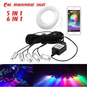 5in 1 6 in Car Decoration Light APP / RGB ambient light car lights accessories Active sound EL neon wire Strip