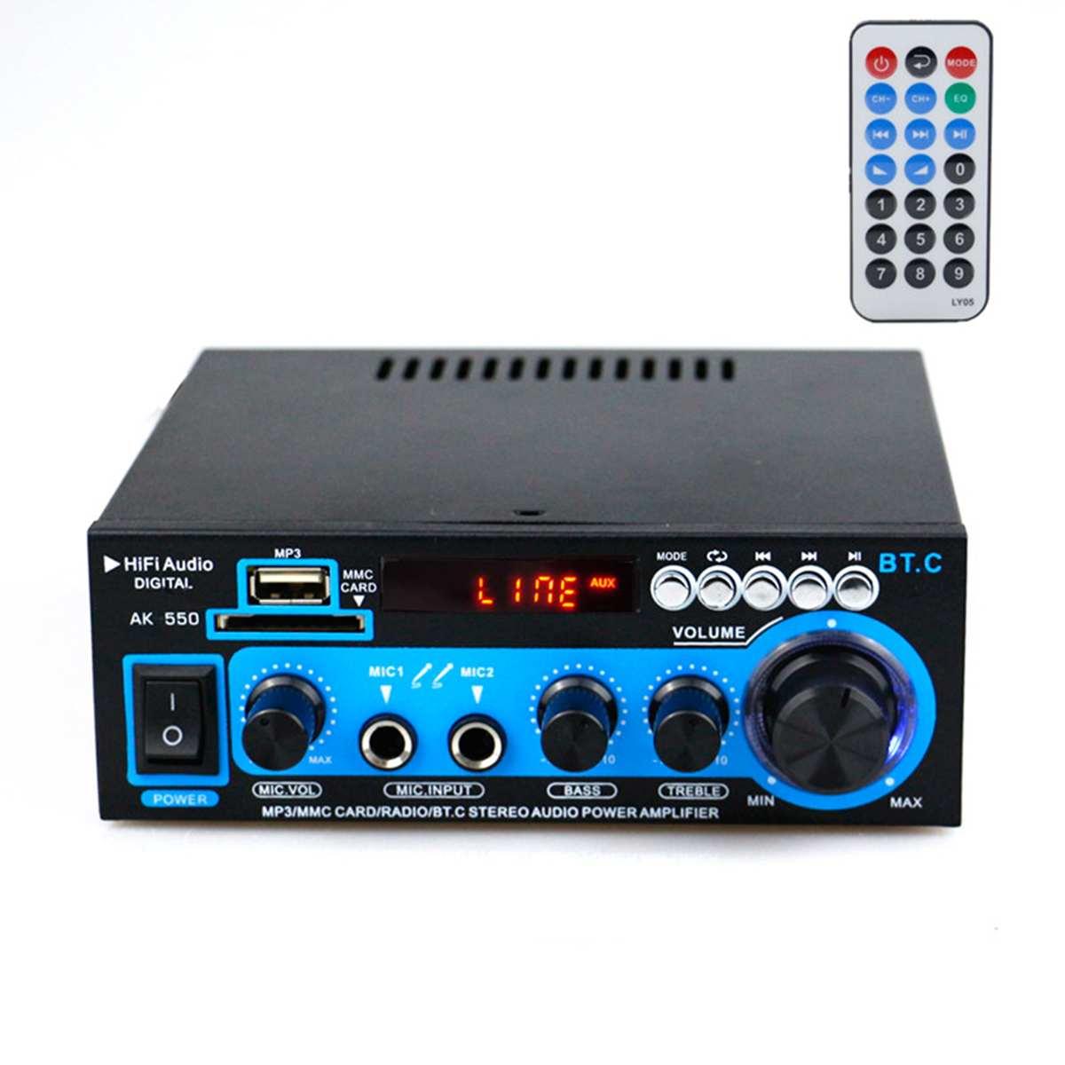 800W 2CH Mini Bluetooth Audio Power Amplifier HIFI FM 110V 12V AUX USB SD 2 Mic Input For Car Home Theater Amplifiers DJ KTV