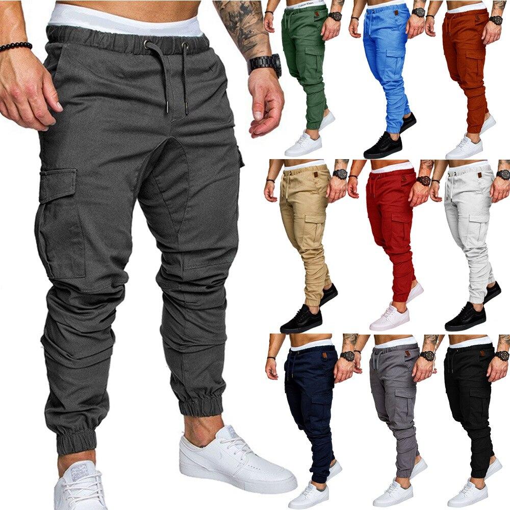 2018 New Style Men's Solid Color Slim Fit Skinny Pants Fashion Plus-sized Lace-up Pants Men's Pants