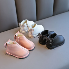 2020 Winter Baby Girls Snow Boots Child Toddler Shoes Soft-bottomed Non-slip Warm Plush Children Kids Bow-knot Princess Shoes