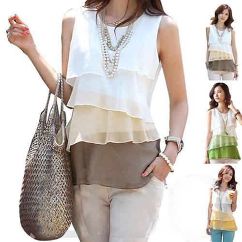 Women Chiffon Sheer Shirt Round Neck Sleveless  Blouse Pullover Multilayer Ves TPlus Size Blusa Feminin