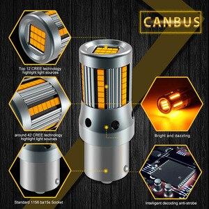 Image 3 - Clignotant, 2 pièces, sans erreur, lampe de voiture, ampoule 7440 BA15S P21W Canbus, ambre jaune, 12V, T20 LED W21W 1156