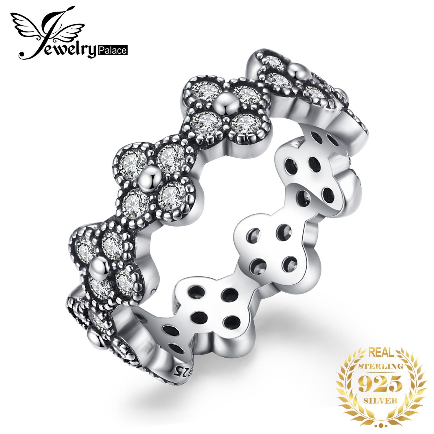 Jewelrypalace Glitter Flora Silver Ring 925 Sterling Silver  Gifts For Women Girlfriend Anniversary Fashion Jewelry New Arrival