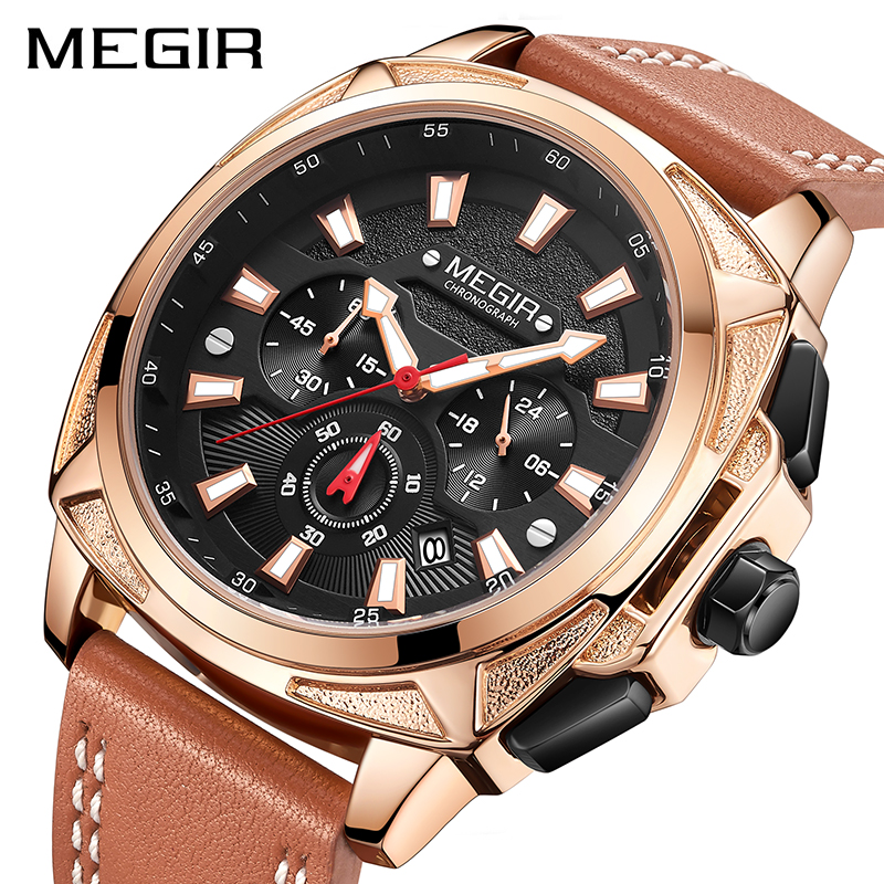 MEGIR Mens Watches Top Brand Sports Watch Man Luminous Waterproof Leather Band Military Quartz Watch Clock Men Relogio Masculino