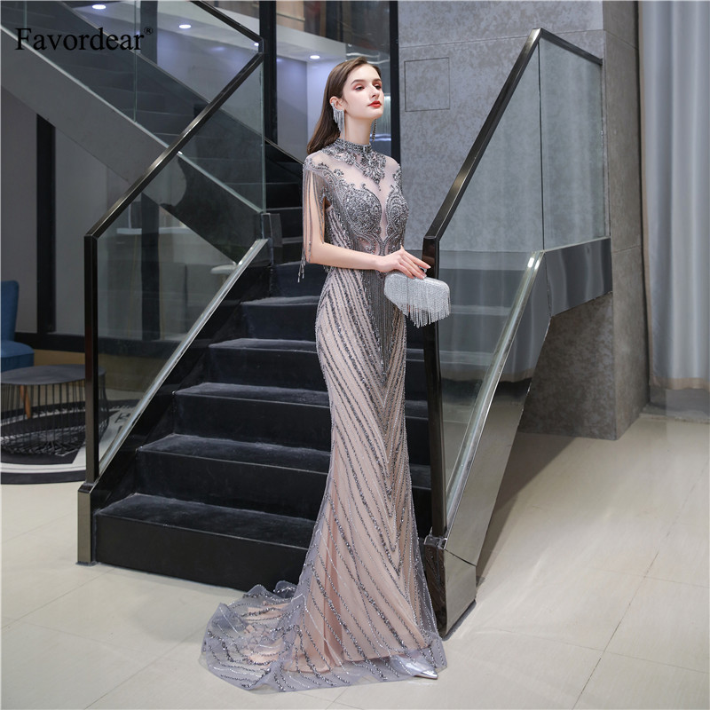 Image 3 - Favordear Sexy Mermaid Sparkly Sequin Evening Dress Vestido De Noite Luxurious High end Formal Dress Party Gown with TasselEvening Dresses   -