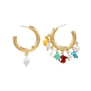 ZA nueva moda, Pendientes de piedra colgantes de perlas asimétricas para mujer, Pendientes colgantes redondos de círculo dorado, joyería para fiesta y boda