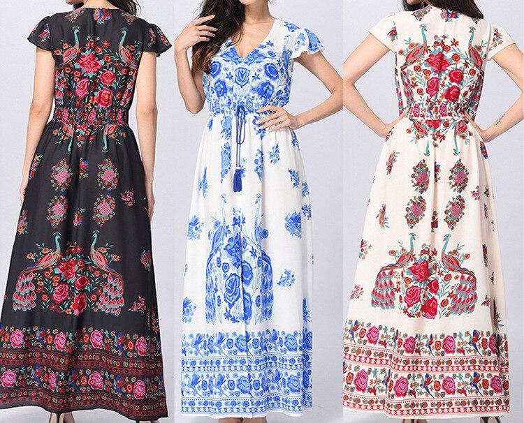 Women Summer Boho Beach Maxi Dress Sexy V Neck Vintage Print Long Dresses Casual Sundress Dress 2019 new short sleeve vestidos in Dresses from Women 39 s Clothing