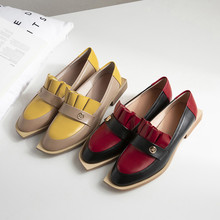 Women Shoes Leather Spring Summer Ladies Flat Fashion Lady Loafers Ruffles Decoration Woman New Brand Work