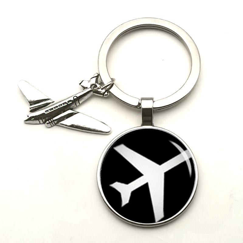 New Cute Airplane Charm Pendant Keychain Gift Cartoon Airplane Key Ring Travel Discovery Glass Dome Souvenir Charm Car Bag