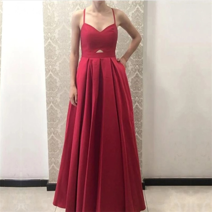 Sexy Straps Satin A Line Chic Evening Dress 2020 Dress Party Prom Gown Formal Dress robe de soiree vestido longo festa