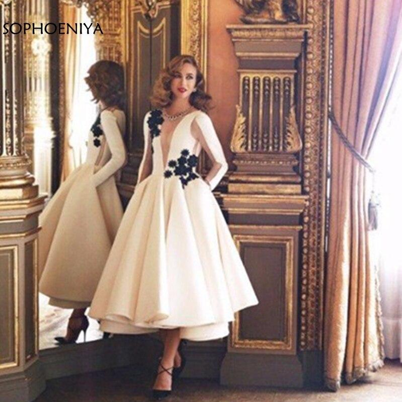 New Arrival Long Sleeve Evening Dresses Black Lace Appliques Arabic Evening Dress Short Vestiti Da Sera Donna Formal Dresses