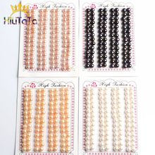 Perles d'eau douce naturelles, 6-7mm, blanc, noir, rose, bouton, demi-percées, pour la fabrication de bijoux, boucles d'oreilles, 28 pièces (14 paires)
