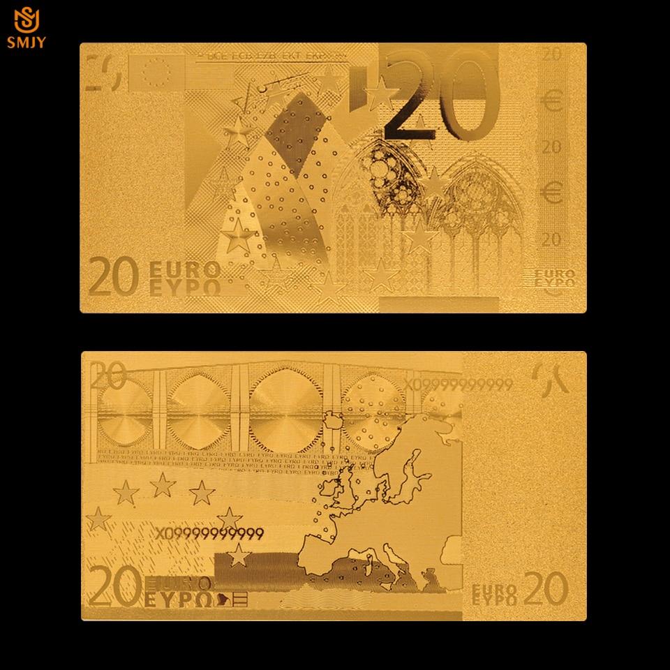 Euro notas de ouro 20 notas de euro banhado a ouro réplica dinheiro real para decoração de casa