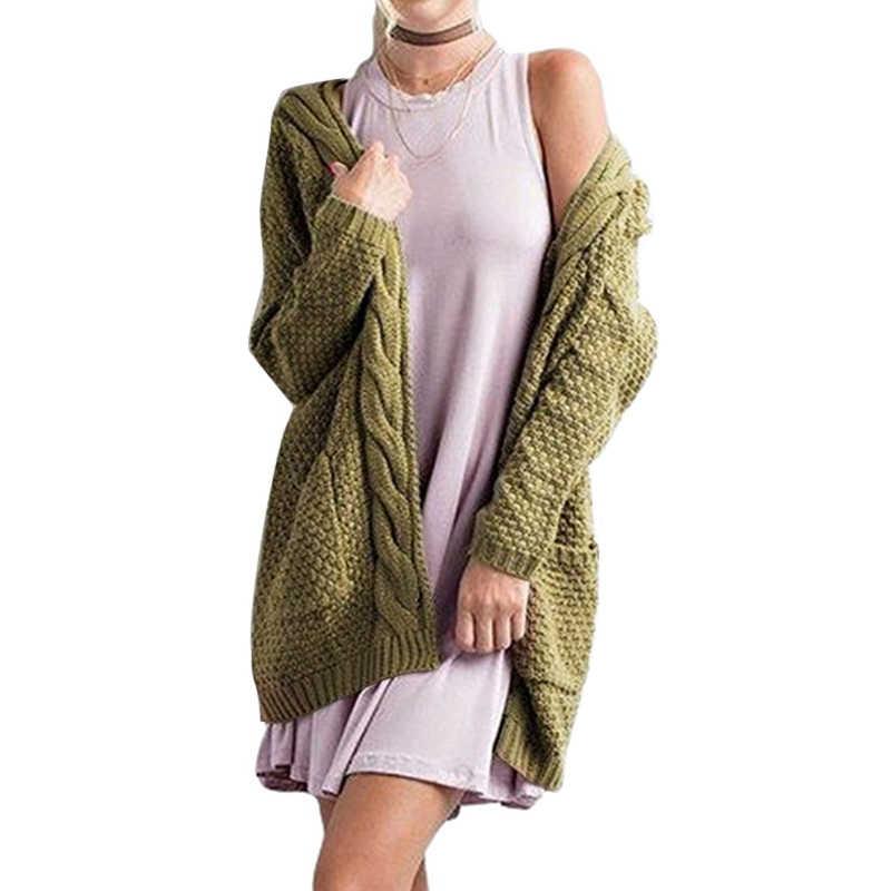 Puimentiua осень зима женские свитера Джерси Mujer Invierno длинный женский кардиган рукав вязаный свитер с петельками кардиган