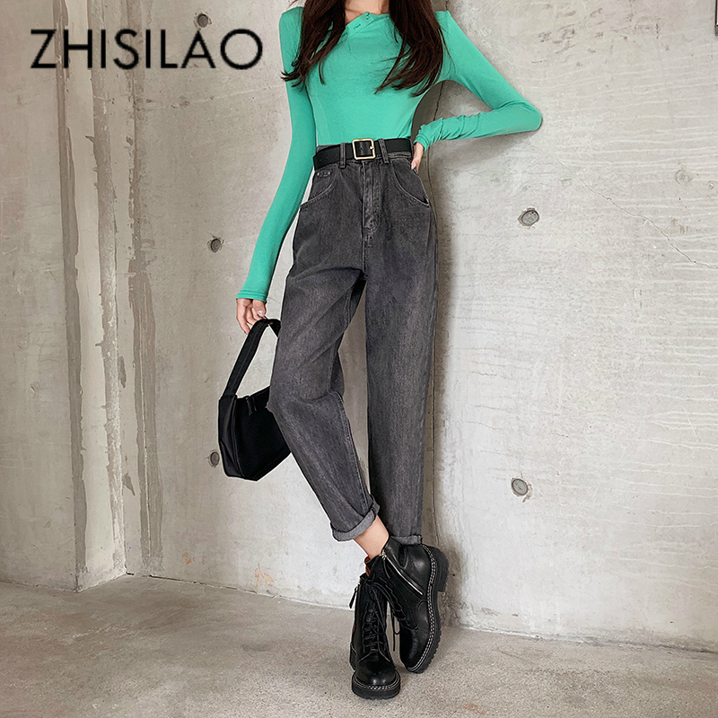 High Waist Straight Jeans Women Vintage Black Harem Jeans Mujer Loose Casual Mom Jeans Boyfriend Street Denim Pants 2019