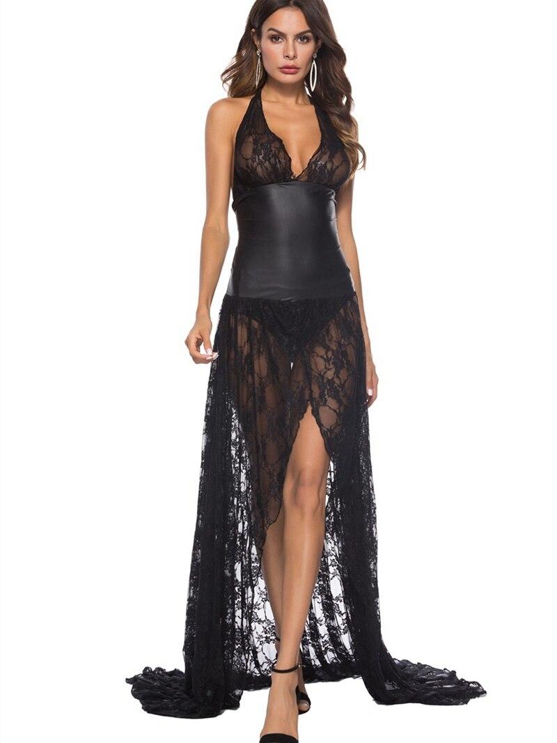 Женское кружевное платье с лямкой на шее, сексуальное женское белье из искусственной кожи, латексная Клубная одежда из ПВХ, эротический кос...