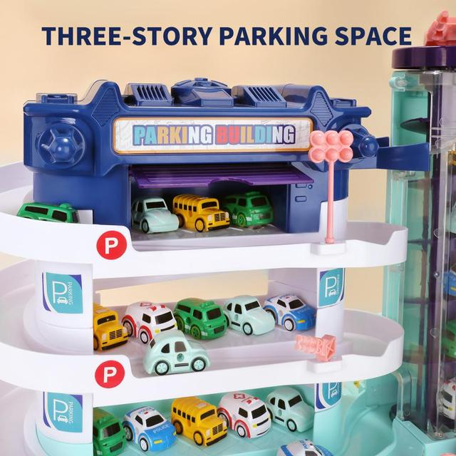 Games for Kids Electric Track Car Parking Toy Building  w/ 4 Miniature Diecast Toy Cars Educational Toys for Children Boys 2