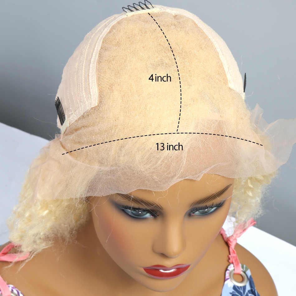 HD Transparen 613 Rambut Pirang Gelombang Dalam Renda Depan Rambut Manusia Wig untuk Wanita Brasil Bob Pendek Remy Frontal Air Curly bob Wig