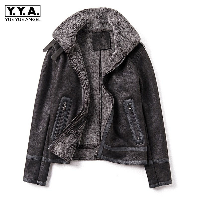 Womens Suede Jackets Thicken Biker Coats Casual Loose Fit Fur Lined Warm Outwear