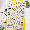 3D наклейки для дизайна ногтей под заказ для бананов, дизайн ногтей искусство украшения из фольги наклейки маникюрные аксессуары, декоратив...