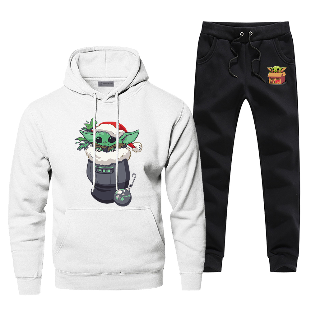 Baby Yoda The Mandalorian Tracksuit Men's Sportswear Fashion Sets 2 Piece Star Wars Yoda Sweatshirt + Sweatpants 2020 Spring Set