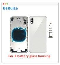 BaRuiLe استبدال غطاء البطارية الباب آيفون XR/XS ماكس/X XSM/XS الزجاج الخلفي الإطار الأوسط هيكل كامل الإسكان الجمعية