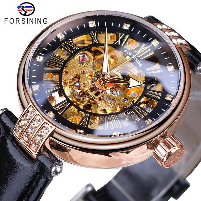 Forsining 2019 элегантные женские часы с бриллиантовым каркасом роскошные женские автоматические часы светящиеся стрелки черные из натуральной кожи