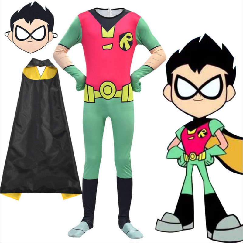 Anime Teen Titans GO Cosplay Teen Titans Robin Red Robin Child Jumpsuit Mask Cloak Set Outfit Halloween Makeup Party Costume
