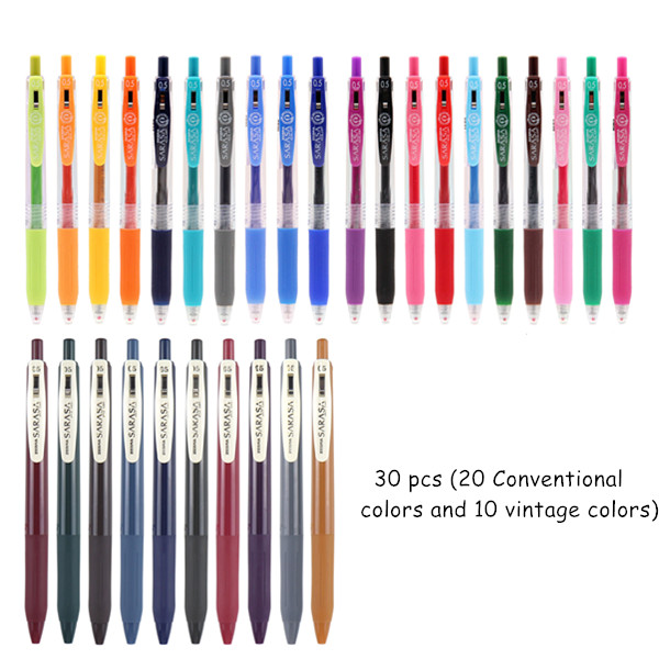 Japan Zebra SARASA CLIP Series JJ15 Conventional / Milk /Vintage/Neon Color Water-based  Gel Pen Marker 0.5mm 43 Colors Optional