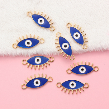 10Pcs Lucky Eye Blue Evil Eye Charms Connector For Bracelet Alloy Enamel Jewelry Accessories Handmade Pendant 10pcs blue cute eye charms connectors pendant handmade for diy necklace bracelet jewelry making alloy accessories