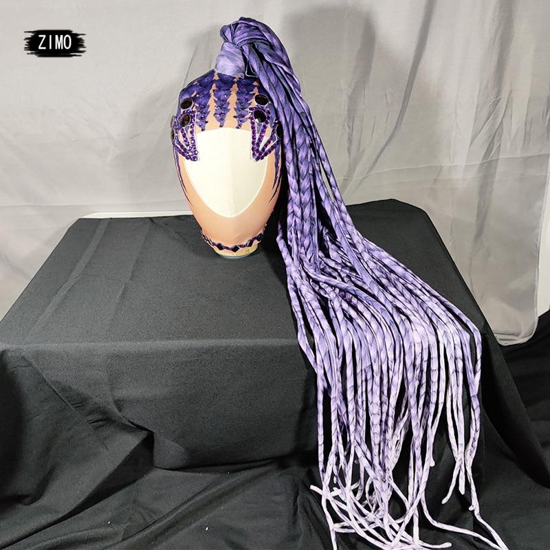 fashion Rhinestone Self style Wig Women Crystal Long Hair Headwear gogo Nightclub Party purple Headdress Dancer Stage Accessorie