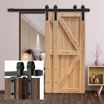 Gifsin Bypass Sliding Barn Door Hardware Track Bent Hanger System 4-9.6FT