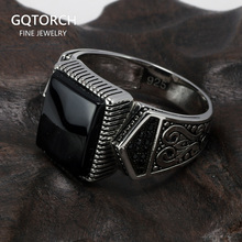 Guaranteed Mens Rings Silver s925 Antique Turkish Rings For Mens Signet Ring With Stone Color Square Turkish Jewelry Anello Uomo