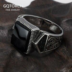 Image 1 - Гарантированные мужские серебряные кольца s925, антикварные турецкие кольца для мужчин, вывеска, кольцо с квадратным камнем цвета, турецкие ювелирные изделия Anello Uomo