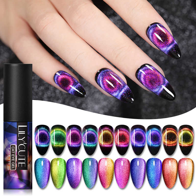 LILYCUTE 9D Cat Eye Nail Gel Chameleon Magnetic Rendam Off UV LED Nail Varnish Semi Permanen Gel Varnish 5ml