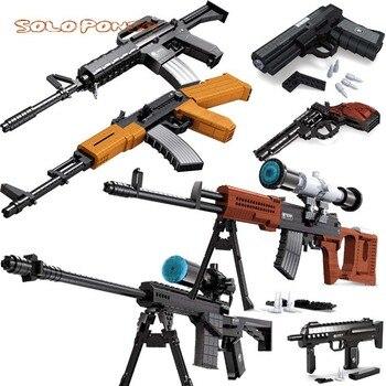 Ausini compatible con lego armas militar pistola modelo de revólver francotirador pack de juguetes bloques de construcción con armas niños niño Niño de ladrillo