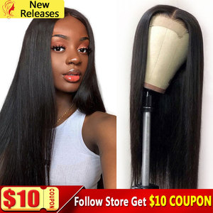 4x4 Lace Closure Human Hair Wig 180 Density Remy Straight Hair Lace Wig Peruvian Lace Closure Wigs 30 Inch Wig Long Wigs(China)