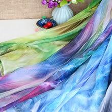Largura 150cm de alta qualidade 30d impresso chiffon material tinta-lavagem chinês traje tradicional pano tecidos de seda com fio exterior