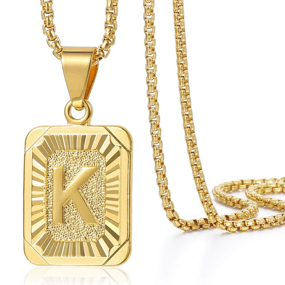 A-Z 26 Initials Pendant Letter Necklace For Women Men Gold Golor Square Alphabet Charm
