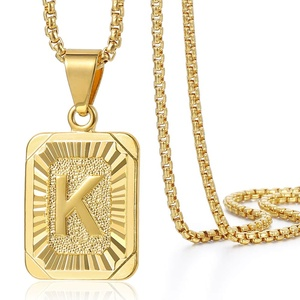 A-Z 26 Initials Pendant Letter Necklace For Women Men Gold Golor Square Alphabet Charm Box Link Chain Dropshipping Jewelry GPM05