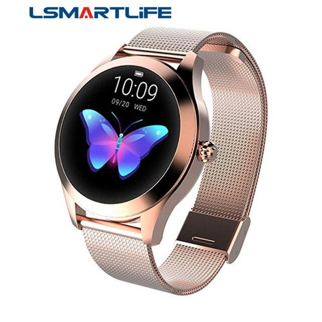 Moda inteligentny zegarek kobiety KW10 IP68 wodoodporna wielu trybów sportowych krokomierz z pomiarem akcji serca bransoletka Fitness dla pani