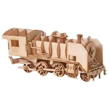 3D Puzzle En Bois pour enfant DIY Modèle De Vapeur Locomotive Bureau Artisanat Kits