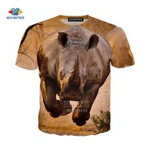 Футболка мужская с забавными животными бегущими носорогами 3d