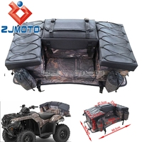 ATV Cargo Bag Rear Rack Gear Bag 600D Waterproof Oxford w/Bungee Tie Down Storage Multi compartment Rear Seat Bag Camouflage